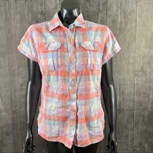 Columbia Pastel Plaid Button Down Shirt Large